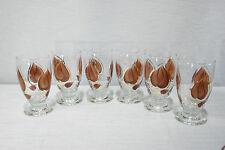 6 Vintage Eames Era Anchor Hocking Enchant Ware Tumblers Glasses Brown Leaves