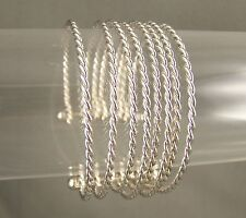 "silver tone 8-strand twist twisted rope metal bangle cuff 1"" wide bracelet"