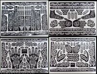 2 A3 Sheets Henna Temporary Tattoo Self Adhesive Decal Stencils Reusable DIY 126