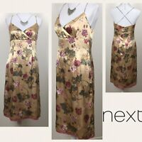NEXT Gold Dress Uk 12 Satin Floral Wiggle Pencil Cocktail Floral Party  NEW