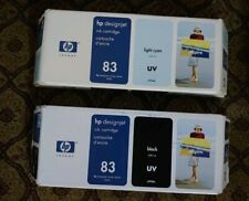 C4944A HP DESIGNJET 5000 NO 83 UV INK CTG CYAN & BLACK LOT OF 2 NEW - EXPIRED
