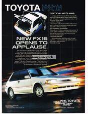 1986 Toyota  Corolla FX 16 White Vtg Print Ad