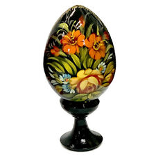 Wooden Easter Egg on a Stand Pysanka Black Zhostova Floral Patterns, Russia