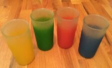 4 Vintage 50's Primary Colors Rubberized Glasses Ice Tea Highball Glassware