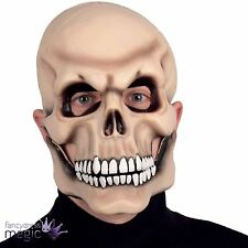 Halloween Horror Moving Mouth Jaw Fancy Dress Skull Skeleton Latex Costume Mask
