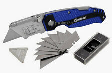 KOBALT QUICK CHANGE Folding Lockback UTILITY KNIFE BOX CUTTER + 11 Blades NEW
