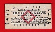 Edmondson Railway Ticket ~ BRB(E) Platform - Bruce Grove: 3d - Red Diamond: 1979