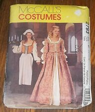 McCall's 2793 Elizabethan Medival Gown Serving Wench Costume Pattern Sz 12 - 18