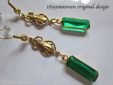 Egyptian revival Art Deco Orecchini Verde Drop Art Nouveau 1920 S stile vintage