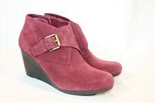 Isaac Mizrahi 8.5 medium merlot Suede Ankle Boots with Buckle