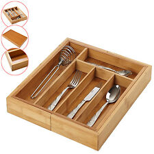 5-7 COMPARTMENT WOODEN EXPANDABLE CUTLERY HOLDER TRAY DRAWER ORGANISER RACK NEW