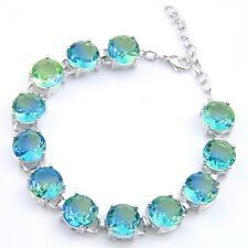 Mother's Gift London Blue Bi Colored Tourmaline Gems Silver Charm Bracelets