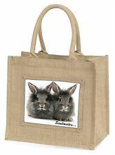 Two Silver Rabbits 'Soulmates' Large Natural Jute Shopping Bag Chris, SOUL-74BLN