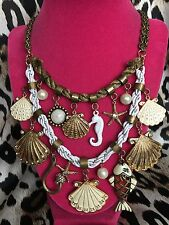 Betsey Johnson Vintage HUGE Nautical Fish Hook Shell Seahorse Starfish Necklace
