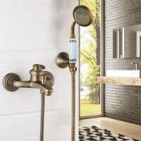 Antique Brass Wall Mount Bathroom Shower Faucet Hand Held Shower Mixer Tap Spray
