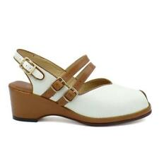 Re-Mix Vintage Shoes Luggage/Ivory Wedge Twin Strap VLV