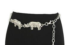 "New Women Belt Fashion Waist Hip Silver Chains Metal Rhino Animal XS S M 25""-37"""