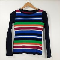 Talbots Petites striped sweater.  Stripes with black trim and long sleeves.