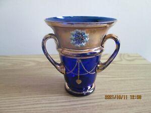 Vintage Venetian Cobalt Blue Enamelled & Gilded Glass Tyg Three Handled Vase