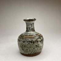 Gray Miniature Studio Pottery Vase Stoneware Drip Glaze Mini