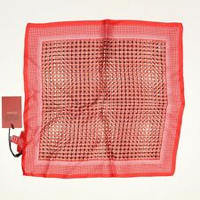 "NEW Laslett Silk Pocket Square 13"" Cherry Red Pink Geometric Print Dotted Edge"