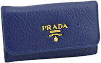 $295 PRADA Blue Leather VITELLO GRAIN Key Case Holder Ring NEW COLLECTION