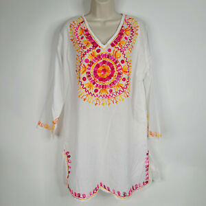 Womens Dress Tunic Blouse Cover Up 2X Long Sleeve White Multicolor Embroidered