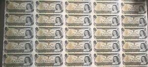 1973 CANADA 1 DOLLAR BANK NOTE UNCUT SHEET X40