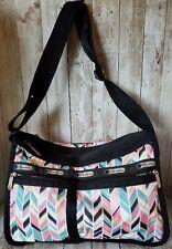 Le SportSac Stripe Black Pink Teal Gold Print Shoulder Crossbody Bag Purse