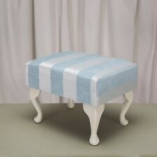Footstool in a Woburn Blue Stripe fabric-Free UK Mainland Delivery