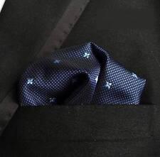 New Classic Navy Blue Polka Dot Men 100% Silk Handkerchief Pocket Square Hanky