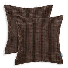 "2Pcs Coffee Cushion Covers Pillows Shells Corn Soft Corduroy Striped Car 16x16"""