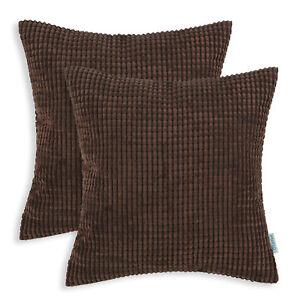 "2Pcs Coffee Pillows Covers Pillows Shells Corn Soft Corduroy Striped Sofa 24x24"""