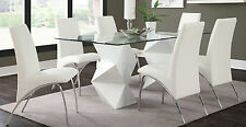 ULTRA MODERN WHITE ZIGZAG DINING TABLE 6 CHAIRS DINING ROOM FURNITURE SET SALE