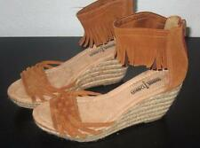 MINNETONKA WOMEN'S SIZE 7 M BROWN SUEDE FRINGE ANKLE ROPE WEDGE FASHION SANDALS