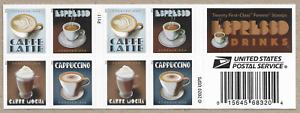 ESPRESSO DRINKS US SCOTT #5569-5572  CAFE LATTE CAPPUCCINO FOREVER 20 STAMP PANE