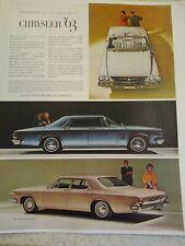 Vintage large LIFE MAGAZINE Advertisement 1963 Chrysler Newport New Yorker 300