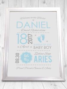 Personalised Baby Picture Nursery Art, New Baby Gift, Personalised Birth Details