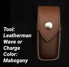 Custom Leather Mahogany Case/Sheath for the Leatherman Wave/Charge Closed Top