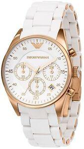 BRAND NEW EMPORIO ARMANI ROSE GOLD WHITE DIAL CHRONOGRAPH MEN'S WATCH AR5919
