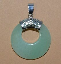 Anhänger,Pendant Stein Aventurin Donut form Donuthalter Silber plattiret
