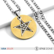 Unisex Stainless Steel Double Stars Gold Tone Round Pendant Figaro Necklace 12H