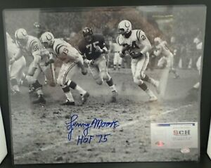 Lenny Moore Signed Auto 16X20 Baltimore Colts B&W Photo W/ HOF 75- SCH Auth