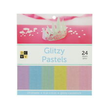 """American Crafts DCWV 6""""x 6"""" Glitzy Pastels Paper Stack Glittered Cardstock Sheet"""