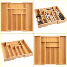 Expandable Cutlery Drawer Kitchen Utensils Holder Organiser Wooden Bamboo Tray
