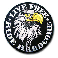 Live Free Ride Hardcore Eagle Harley Chopper Biker Motorcycle Vest Patch Iron on