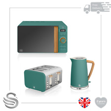 Swan Nordic 1.7 Litre Jug Kettle, 4 Slice Toaster & 800W Microwave Green- New