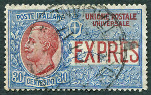 ITALY 1908 30c blue & rose SGE80 CV £4.25 used NG EXPRESS LETTER Foreign b #A01