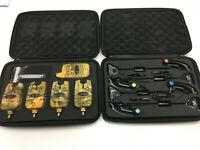 4 x TMC Wireless Fishing bite alarms,receiver, illum Indicators. Camo Design