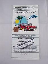 ANCIENNE billet d'entrée LOU grammes Etranger de 1987 DORTMUND TICKET ehrenkarte